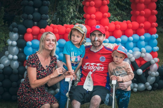 John Boyman with his wife Helen and their two sons at a special day organised before his death by charity Bucket List Wishes