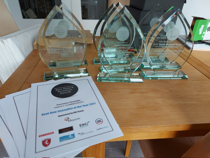 The awards, ready to be posted to the winners