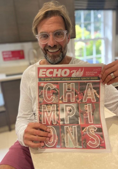 Mr Klopp with Friday's souvenir edition of the Echo