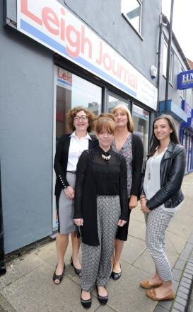Leigh Journal staff outside the new office