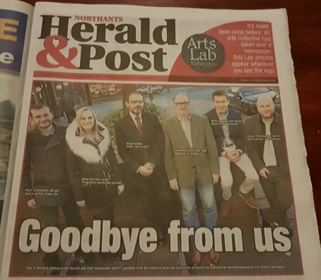 A picture of Herald & Post staff on the front page of its last edition