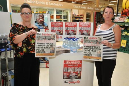 The Leader's Amy Gilham, left, and Joanne Williams promote the new edition at Cefn Mawr Tesco, near Wrexham