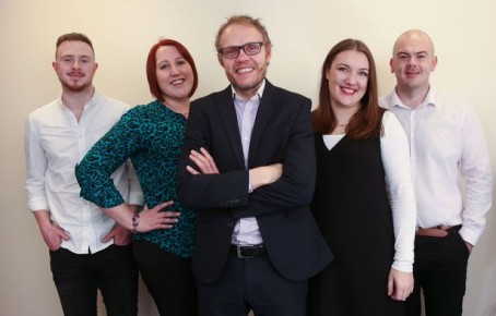 Members of the Leeds Live launch team, from left to right: Todd Fitzgerald, Samantha Gildea, Wayne Ankers, Laura Hill and Dion Jones