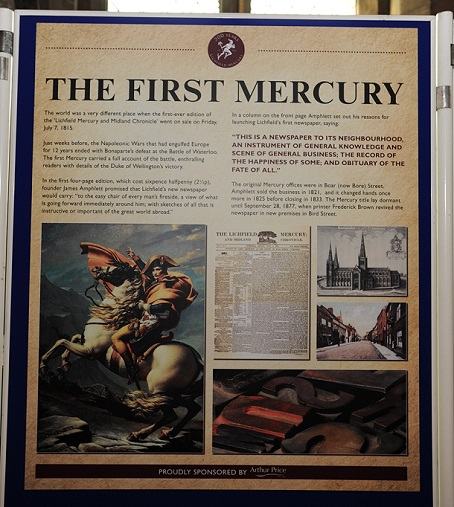 The exhibition includes details about the first edition of the Mercury.