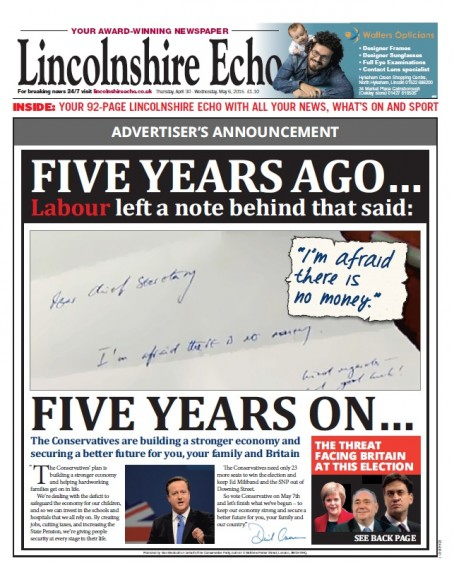 The wrap as it appeared on the Lincolnshire Echo