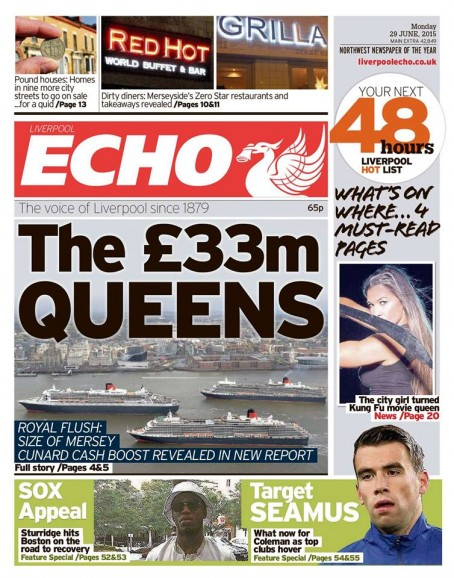 Today's edition of the new look Liverpool Echo