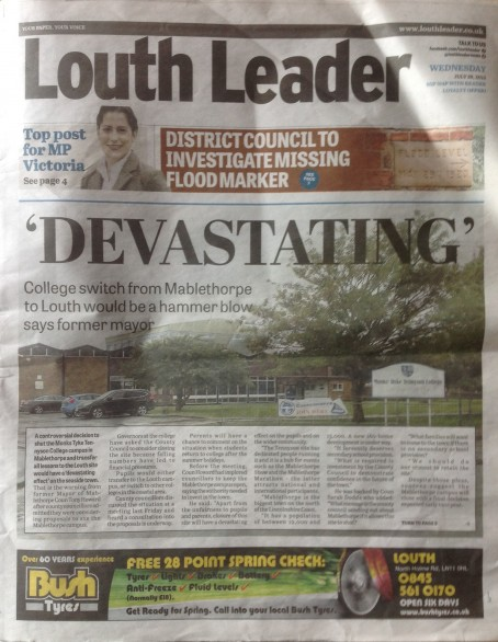 Louth Leader page one