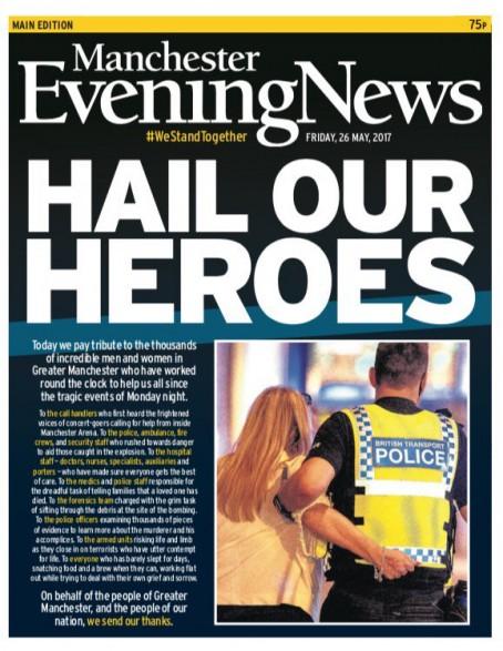 One of the MEN's front pages published in the aftermath of the attack