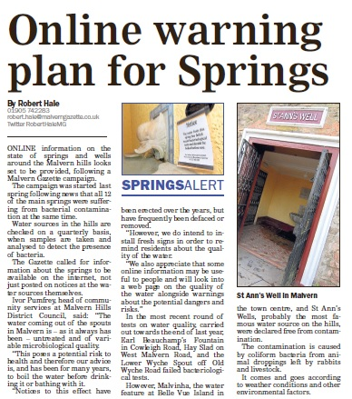 The latest Malvern Gazette story on the campaign