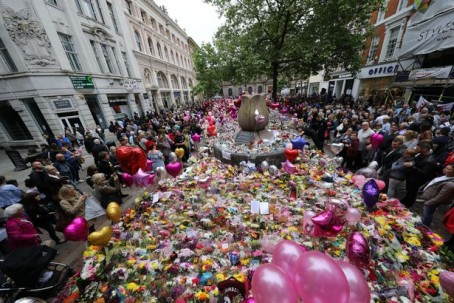 Flowers and tributes left in St Ann's Square, Manchester