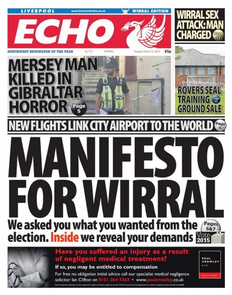 The front page of today's Wirral edition of the Liverpoool Echo