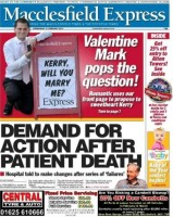 Mark popped the question in style on the newspaper's front page