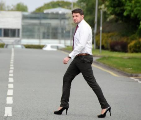 Mark sporting his new footwear in Preston