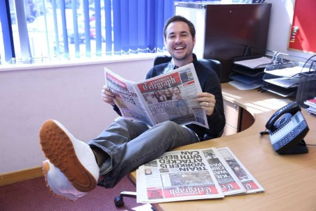 Martin Compston at the Telegraph's office