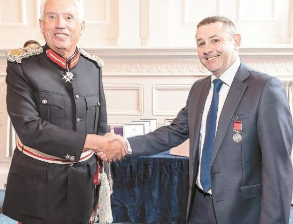 Martin, right, with Lord Lieutenant of Berkshire James Puxley