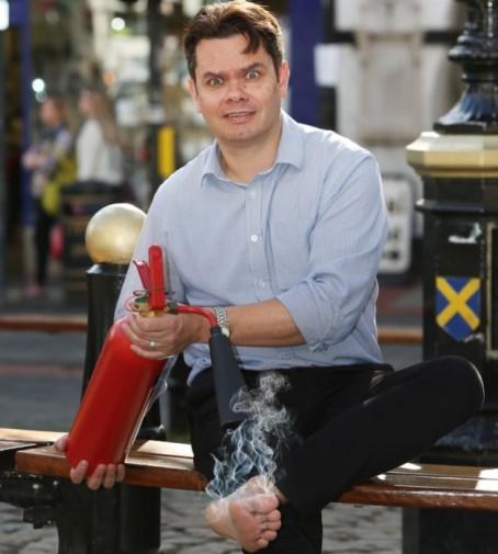 Herts Advertiser editor Matt Adams prepares for the 'firewalk'