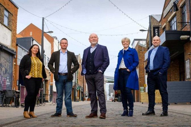 John Meehan, centre, with newly-appointed communications director Rick Lyon, second left, and colleagues, from left, PR executive Katy Stevens, digital director Janey Revill and digital consultant Paul Johnson