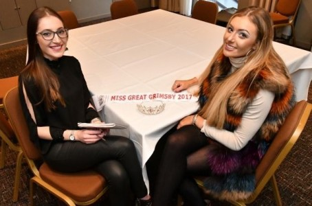 Laura, left, with current Miss Great Grimsby & District Millie Margetts