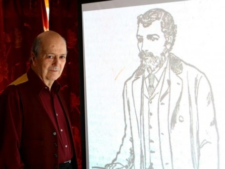 Michael Mulford with a sketch of Bury