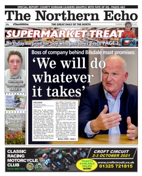 The Echo splashed on Mr Donovan's visit on Thursday
