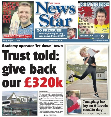 Today's News & Star West edition front page