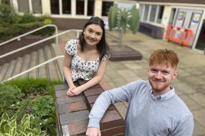 NTU journalism students Katie Green and Jack O'Connor