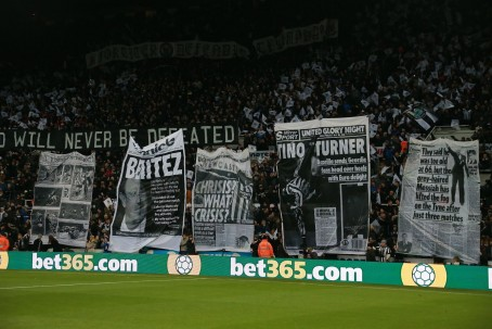 Fans held a display featuring classic Chronicle front and back pages before Newcastle's 3-2 defeat to Leicester