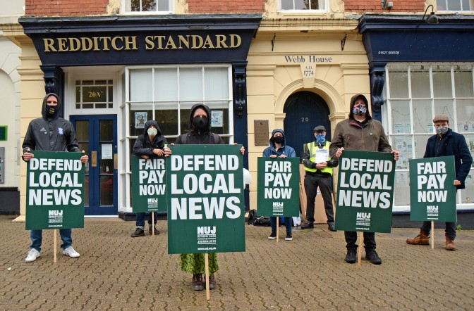 Striking journalists at the Redditch Observers