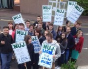 Journalists at Newsquest South London during last summer's strike