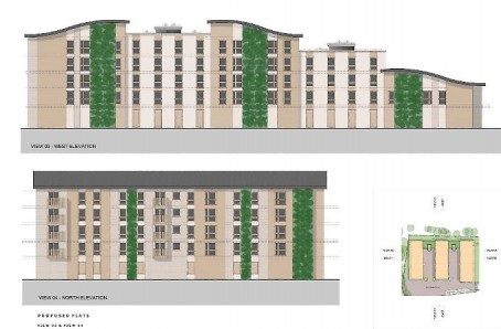 An artist's impression of the proposed flats development at the old Weekly News HQ