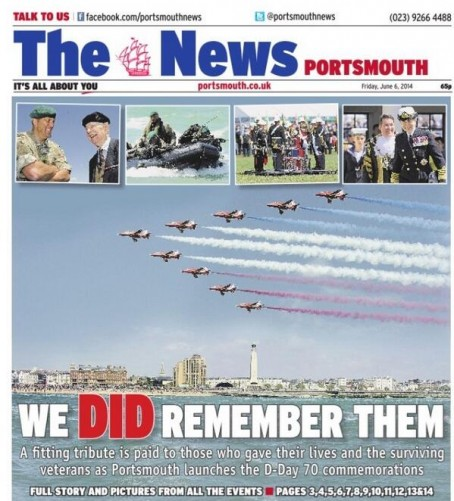 Friday's follow-up front page featuring the fly-past