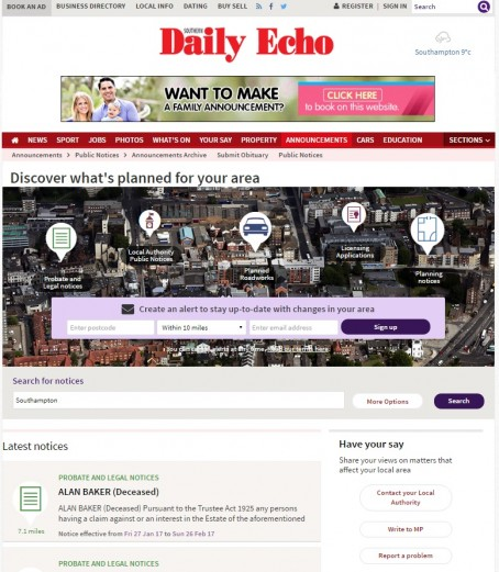 How the new platform looks on the Southern Daily Echo's website