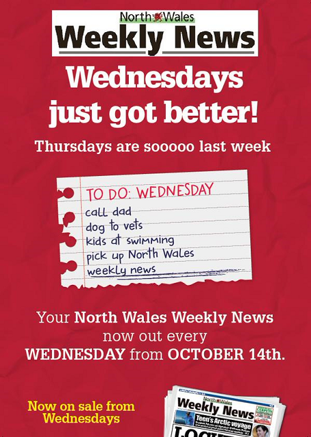 An advert telling readers of the North Wales Weekly News about the change in publication date.