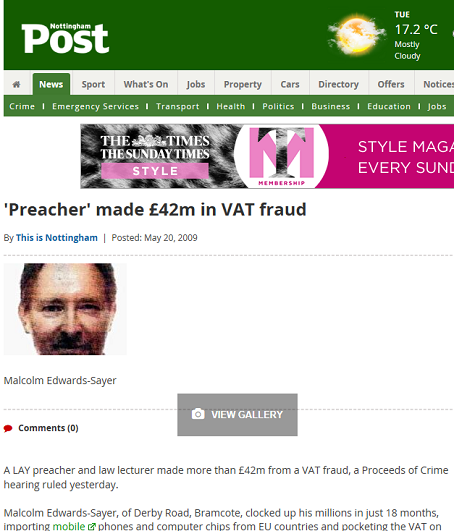 One of the Nottingham Post's stories about Malcolm Edwards.
