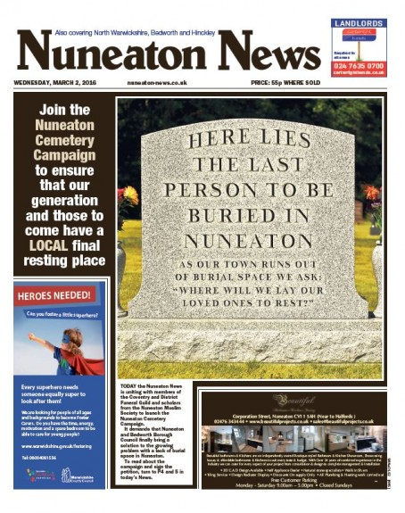 A front page from the Nuneaton News in March marking the launch of a campaign to find a new cemetery for the town