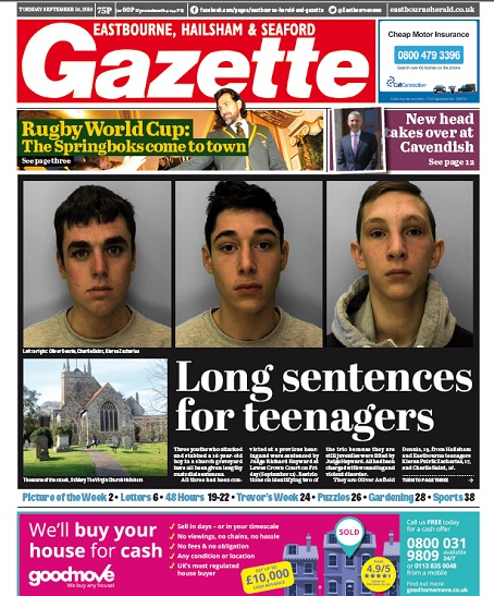 Last week's tabloid edition of the Eastbourne Gazette.