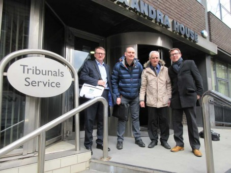 From left: Chris Morley, NUJ senior organiser, Darren Robinson, former Chronicle chief photographer, Tony Miller, photographer, and Neil Todd, Thompsons' solicitor, outside the Manchester Employment Tribunal