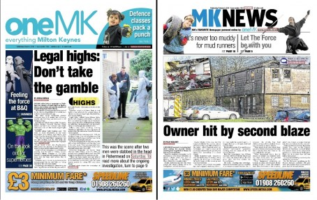 The ltest edition of OneMK, left, and the last edition of the MK News