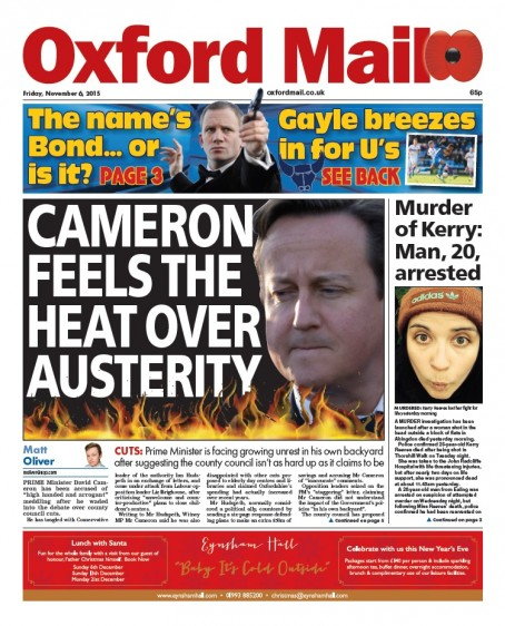 The front page of last Friday's Oxford Mail