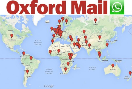 A map showing the 45 countries in which Oxford Mail Whatsapp alert subscribers reside