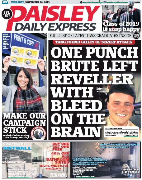 The stickers were featured on the front page of the Express on last Thursday