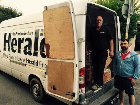David Garland and his son Johnny, members of the Pembrokeshire Herald delivery team