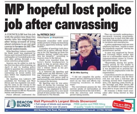 Patrick Daly's story about Cllr Sparling losing his job