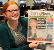 Polly Grice with her front page splash.