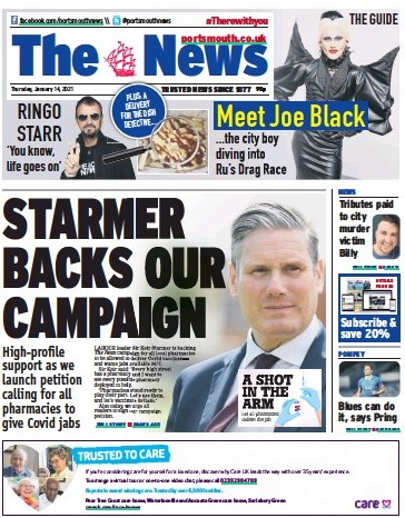 Portsmouth daily the News splashed on Sir Keir's backing yesterday
