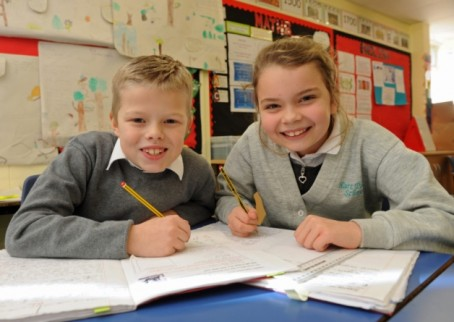 Thomas Tucker, eight, and Faye Francis, nine, heard about the life of a working journalist