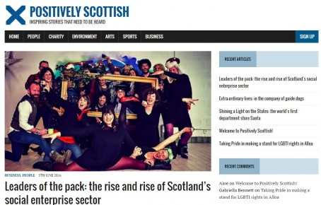 The homepage of the Positively Scottish website