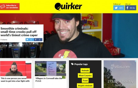 A screenshot from Quirker shortly after its launch in June 2015