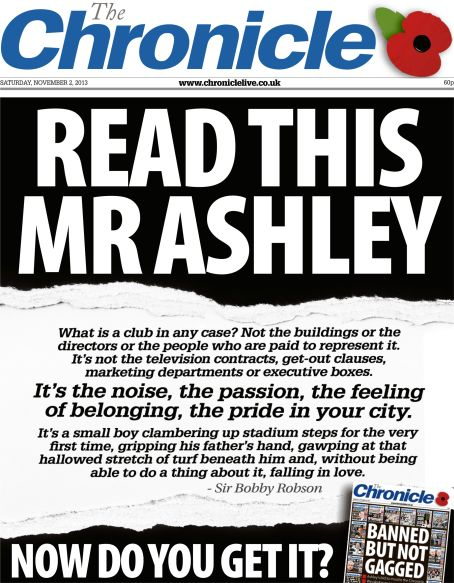 The Chronicle's original front page plea in 2013