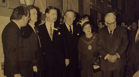 Pictured at the opening ceremony for the Reading Evening Post in 1965 are, from left, works manager BA Clark, editor Howard Green, managing director Rex Gerrie, The Hon David Smith, who was Lord Lieutenant of Berkshire, Alderman Alice Burrows, who was Mayor of Reading, and Lord Thomson of Fleet.